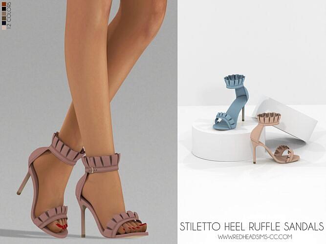 Stiletto Heel Ruffle Sandals