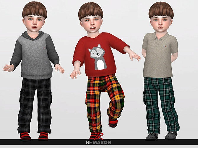 Sims 4 Grid Cargo Pants 01 T by ReMaron at TSR