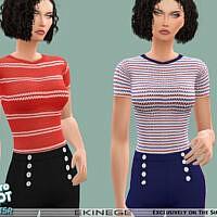 Retro Striped Knit Top By Ekinege
