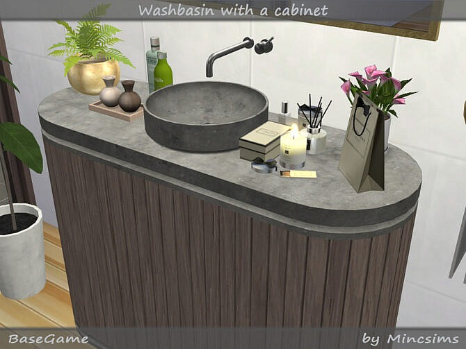 Sims 4 Washbasin with Cabinet by Mincsims at TSR