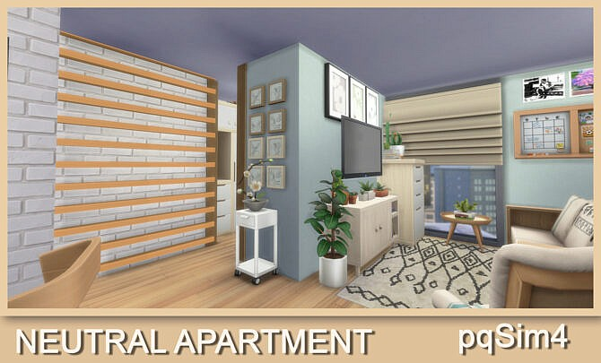 Sims 4 Neutral Apartment No CC at pqSims4