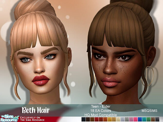 Sims 4 Beth Hair at MSQ Sims