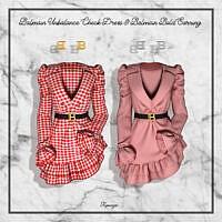 Unbalance Check Dress & Bold Earrings