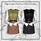 Puff-sleeve Short Kint Blouse & Belt A-line Skirt
