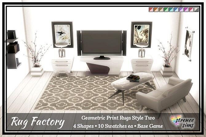 Sims 4 Rug Factory: Geometric Rugs at Strenee Sims