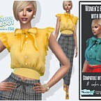 Retro Women's Blouse With Bow By Sims House