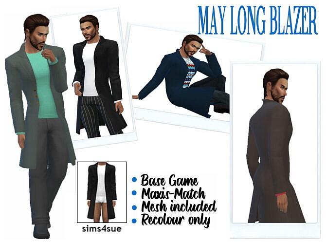 Sims 4 MAY'S LONG BLAZER at Sims4Sue