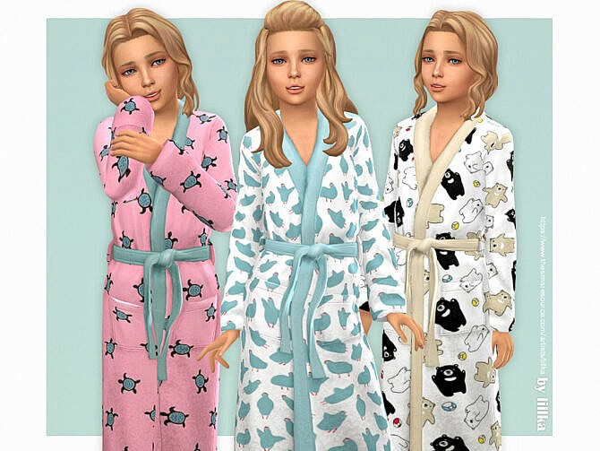 Sims 4 Cute Bathrobe for Girls by lillka at TSR