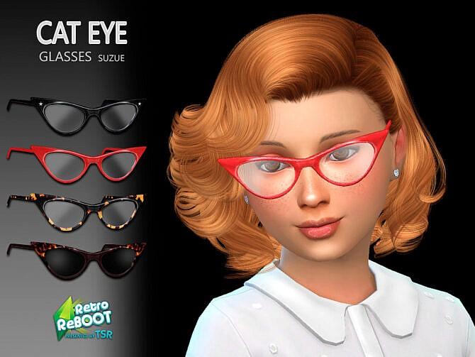 Sims 4 Retro CatEye Child Glasses by Suzue at TSR