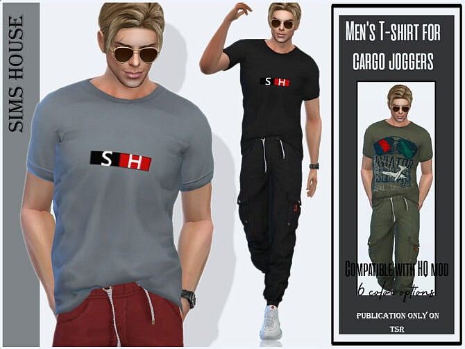 Sims 4 Mens T shirt for cargo joggers by Sims House at TSR