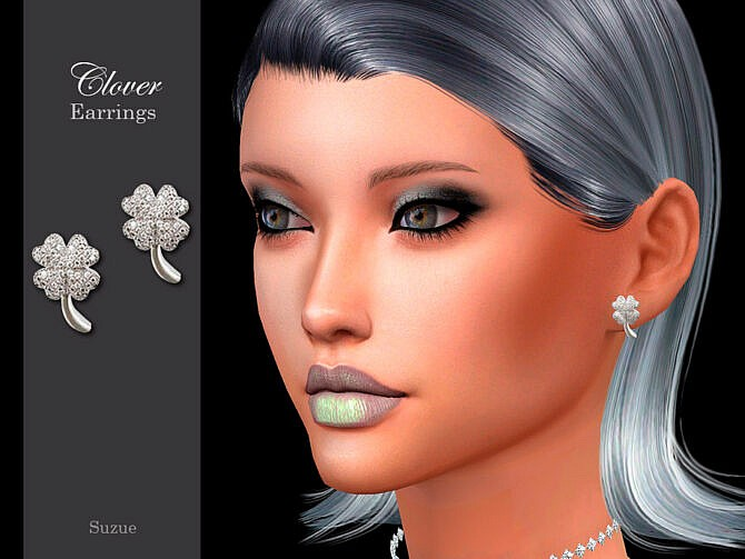 Sims 4 Clover Earrings by Suzue at TSR