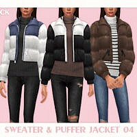 Sweater & Puffer Jacket 04 By Black Lily