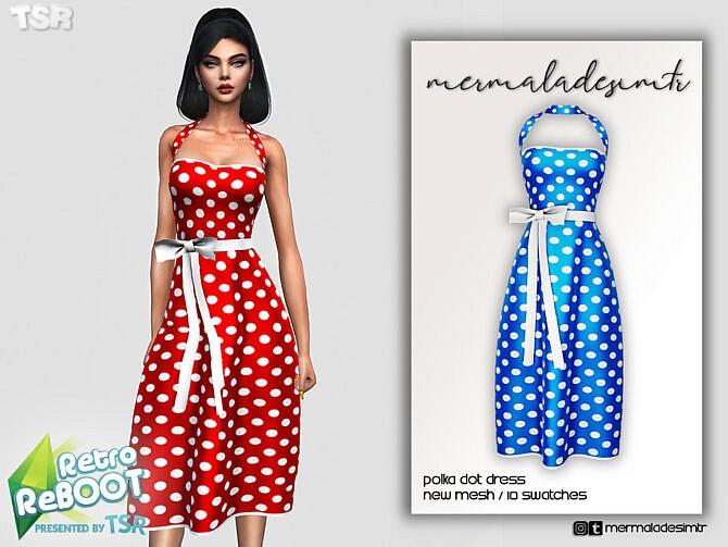 Sims 4 Retro Polka Dot Dress by mermaladesimtr at TSR
