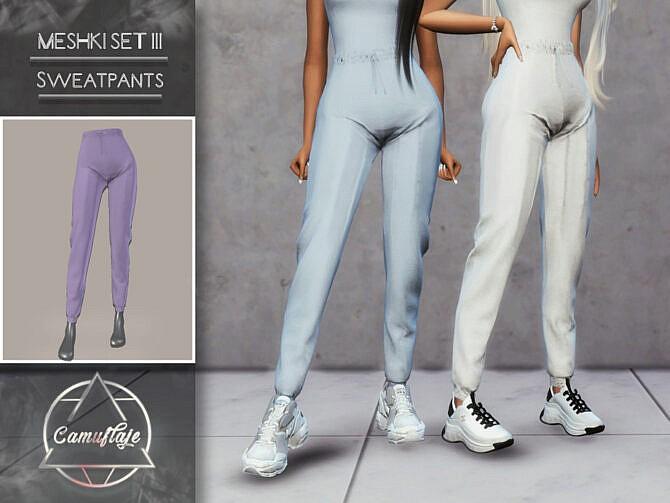 Sims 4 MESHKI III SET Sweatpants by Camuflaje at TSR