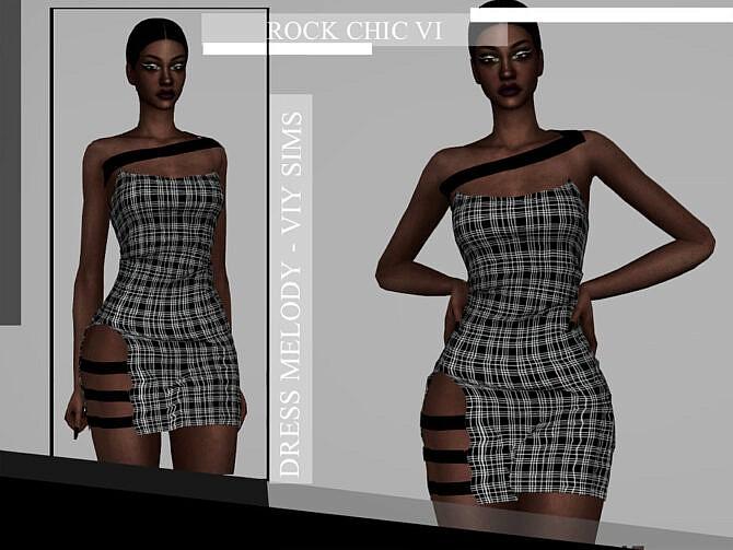Sims 4 Rock Chic VI Dress MELODY by Viy Sims at TSR