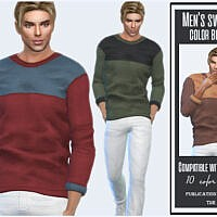 Men's Sweater Color Block By Sims House