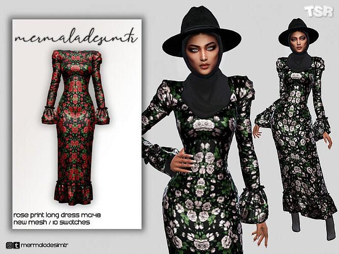 Rose Print Long Dress Mc148 By Mermaladesimtr