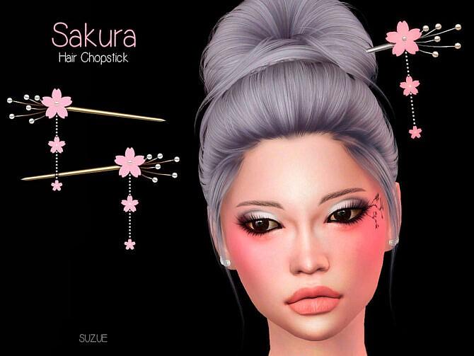 Sims 4 Sakura Chopstick Set by Suzue at TSR
