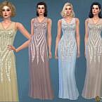 Retro 1930s Sequined Maxi Dress By Harmonia