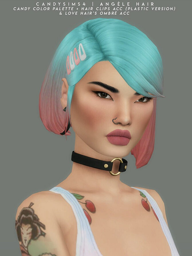 Sims 4 Angele Hair and hair clips at Candy Sims 4