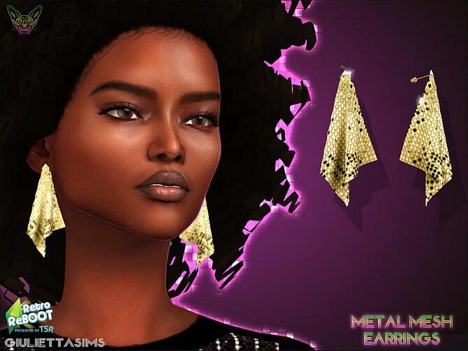 Sims 4 Retro Metal Mesh Earrings 70s by feyona at TSR