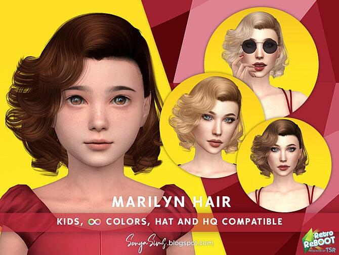 Sims 4 Retro Marilyn Hair (KIDS) by SonyaSimsCC at TSR