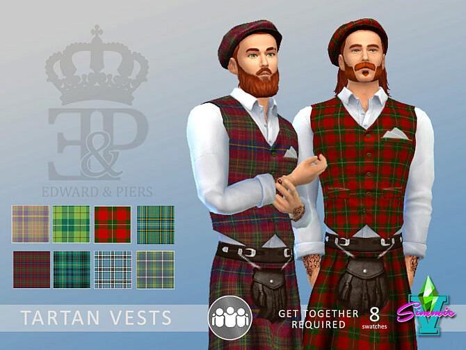 Sims 4 Edward & Piers Tartan Vest by SimmieV at TSR