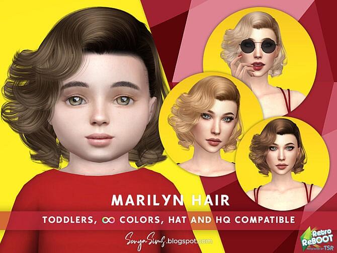 Sims 4 Retro Marilyn Hair (TODDLERS) by SonyaSimsCC at TSR