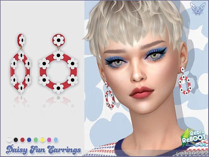 Sims 4 Retro Daisy Fun Earrings by feyona at TSR