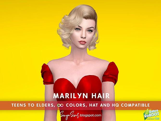 Sims 4 Retro Marilyn Hair by SonyaSimsCC at TSR