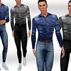 Men Denim Shirts Fullbody Outfit By Saliwa
