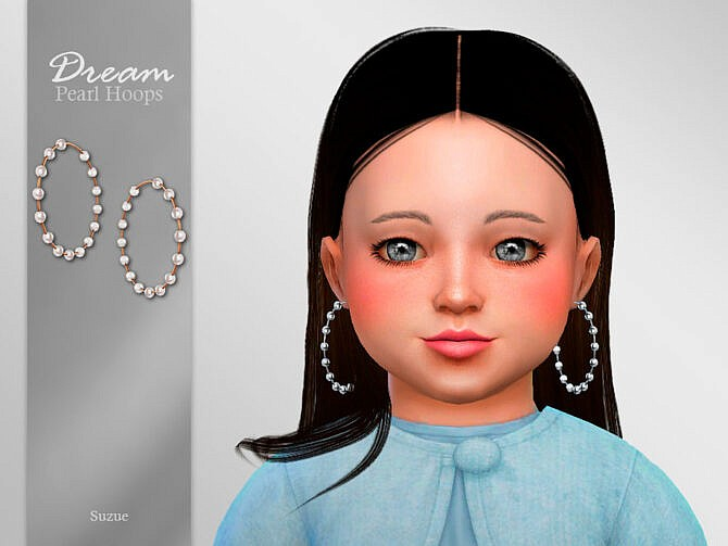 Sims 4 Dream Toddler Hoops Earrings by Suzue at TSR