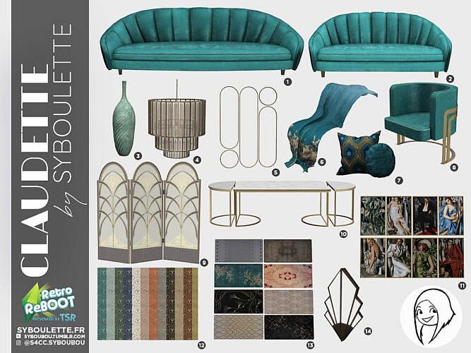 Retro Claudette Living Room Set Part 1 + 2 By Syboubou