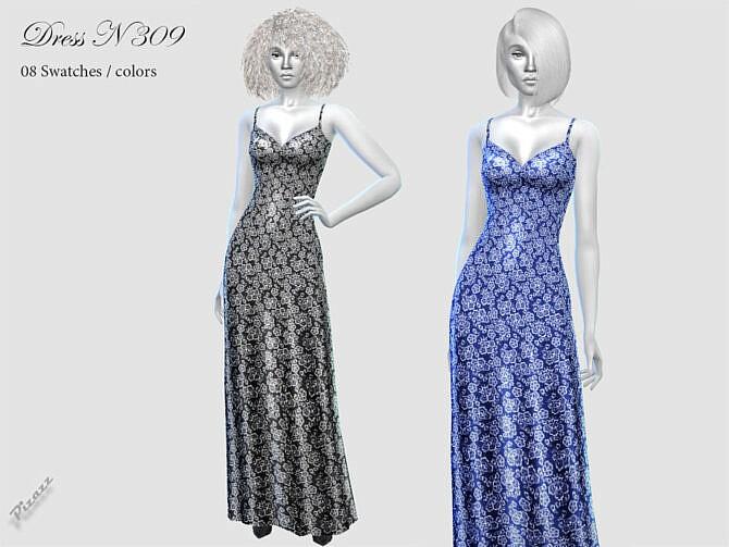 Sims 4 Long dress N309 by pizazz at TSR