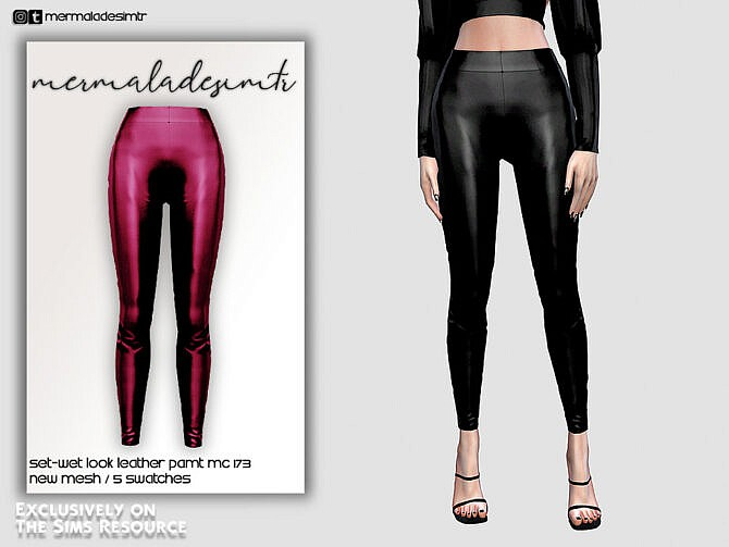 Sims 4 Set Wet Look Leather Pant MC173 by mermaladesimtr at TSR