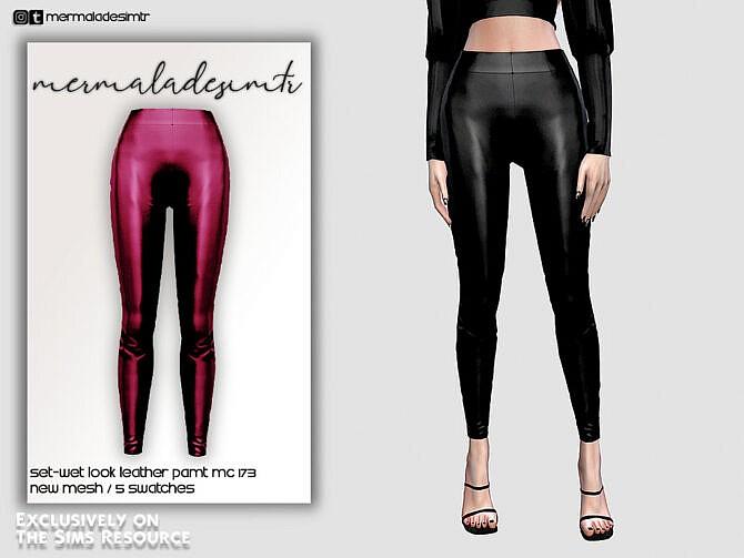 Sims 4 Set Wet Look Leather Pant MC173 by mermaladesimtr at TSR