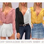 Off-shoulder Button Shirt 03 By Black Lily