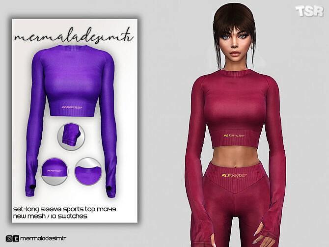 Sims 4 Set Long Sleeve Sports Top MC149 by mermaladesimtr at TSR