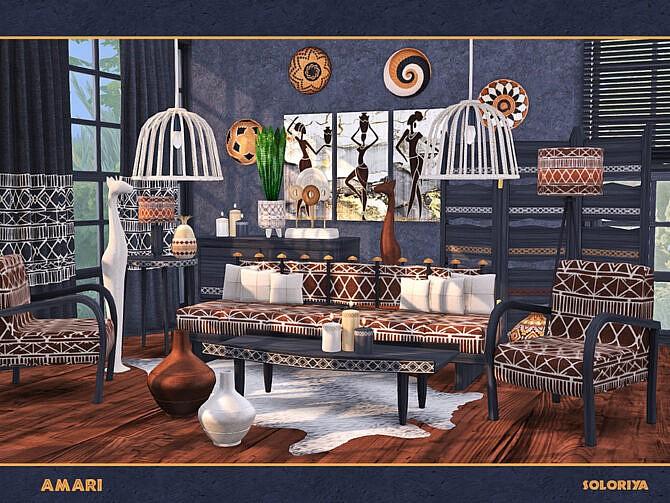 Sims 4 Amari living room by soloriya at TSR