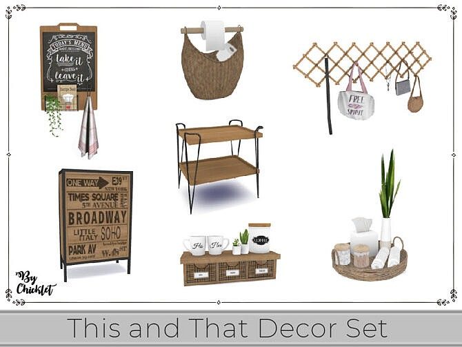 Sims 4 This and That Decor Set by Chicklet at TSR