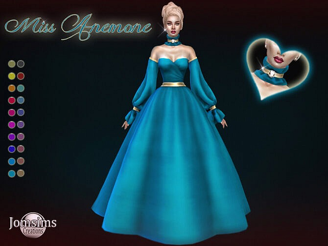 Sims 4 Miss Anemone ball gown by jomsims at TSR