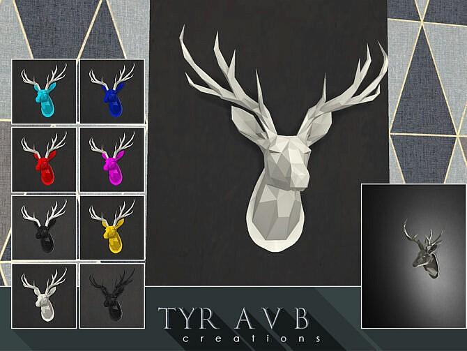 Sims 4 LED backlit Wall Art Origami Deer Head by TyrAVB at TSR