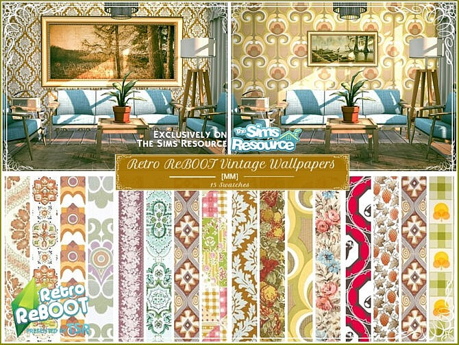 Sims 4 Retro Vintage Wallpapers by Moniamay72 at TSR