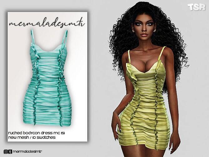 Sims 4 Ruched Bodycon Dress MC151 by mermaladesimtr at TSR