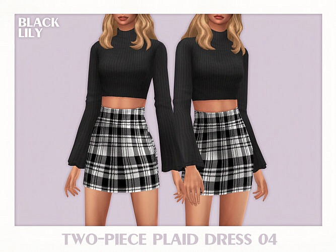 Two-piece Plaid Dress 04 By Black Lily