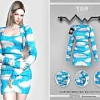 Cloud Print Dress Bd448 By Busra-tr