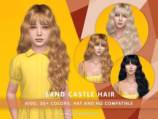 Sims 4 Castle Hair (KIDS) by SonyaSimsCC at TSR