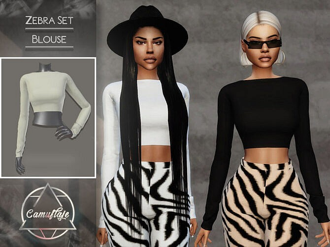 Sims 4 Zebra Set (Top) by CAMUFLAJE at TSR
