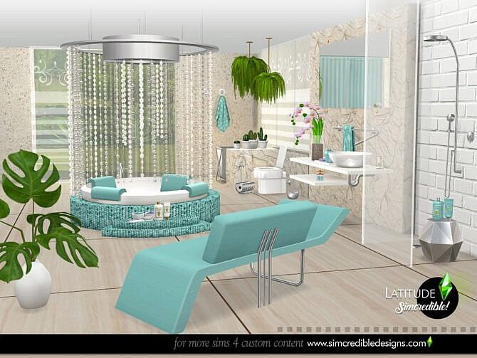 Sims 4 Latitude bathroom by SIMcredible at TSR
