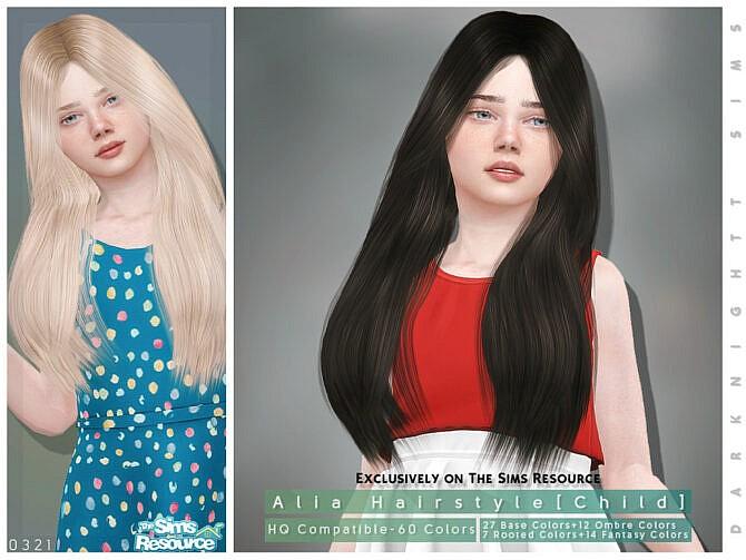 Sims 4 Alia Hairstyle Child by DarkNighTt at TSR